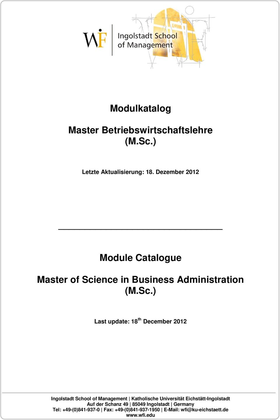 ence in Business Administration (M.Sc.