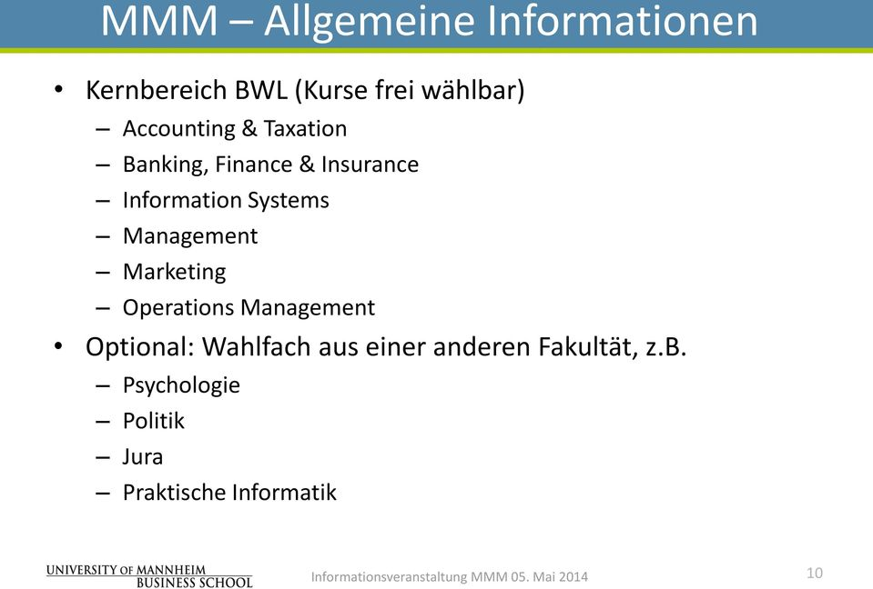 Management Marketing Operations Management Optional: Wahlfach aus