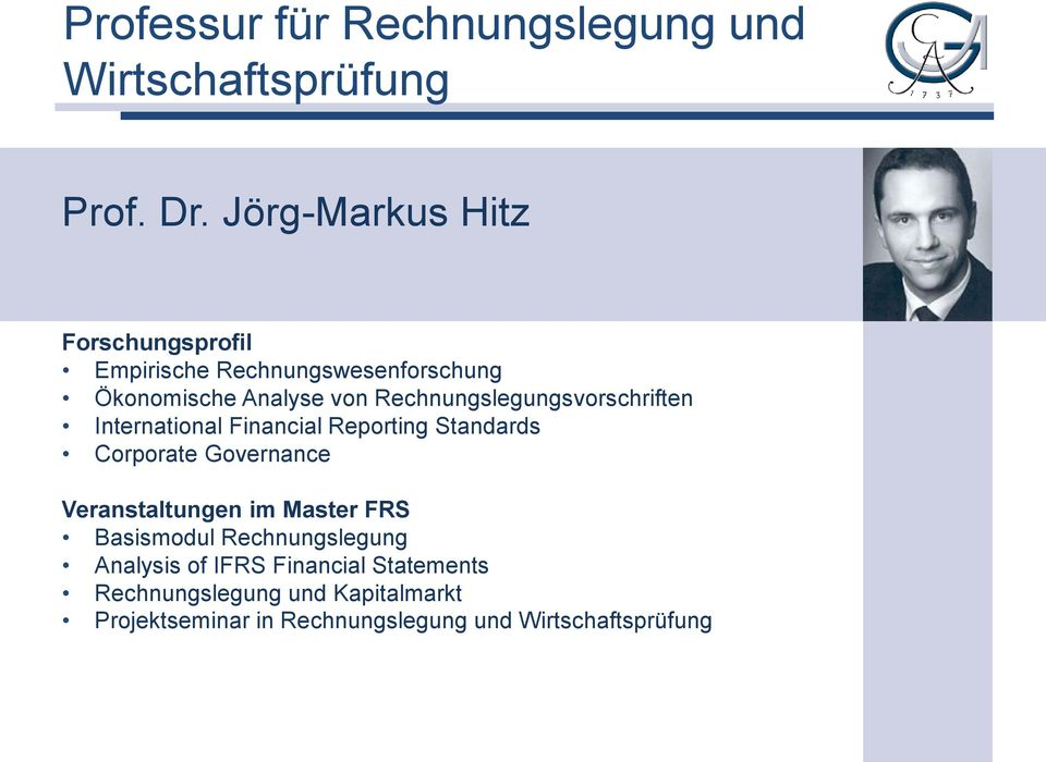 Rechnungslegungsvorschriften International Financial Reporting Standards Corporate Governance