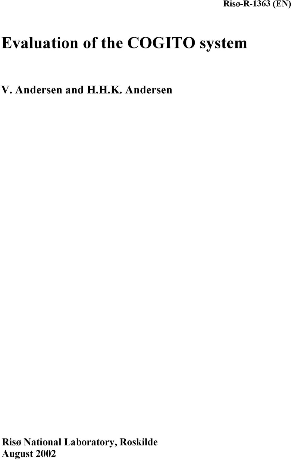 Andersen and H.H.K.