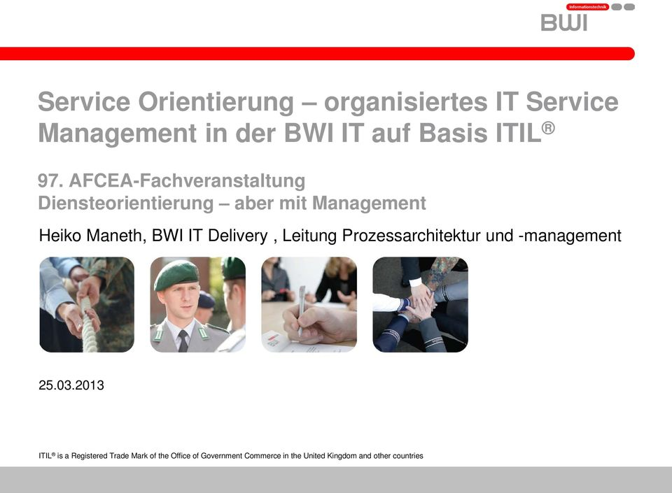 IT Delivery, Leitung Prozessarchitektur und -management 25.03.
