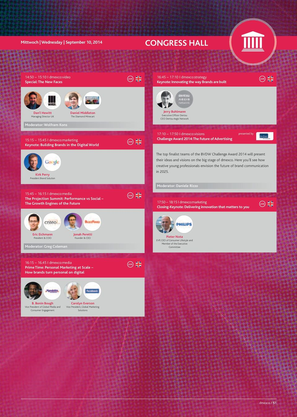 I dmexco:visions Challenge Award 2014: The Future of Advertising presented by Kirk Perry President Brand Solution The top finalist teams of the Challenge Award 2014 will present their ideas and