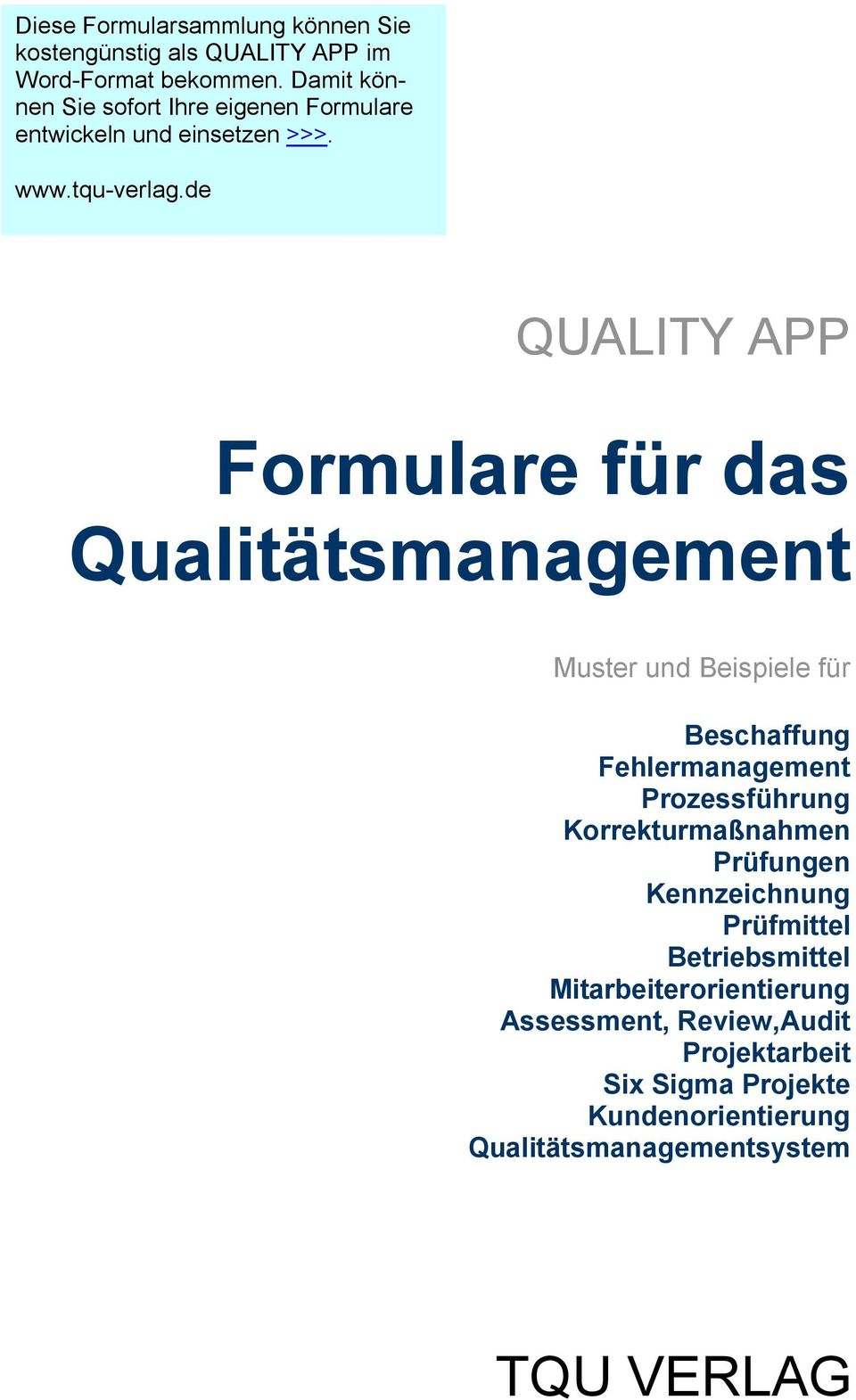 formulare f r das qualit tsmanagement pdf. Black Bedroom Furniture Sets. Home Design Ideas