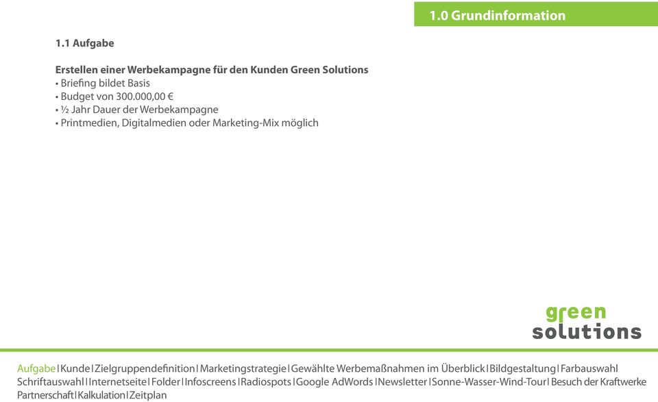 Green Solutions Briefing bildet Basis Budget von 300.
