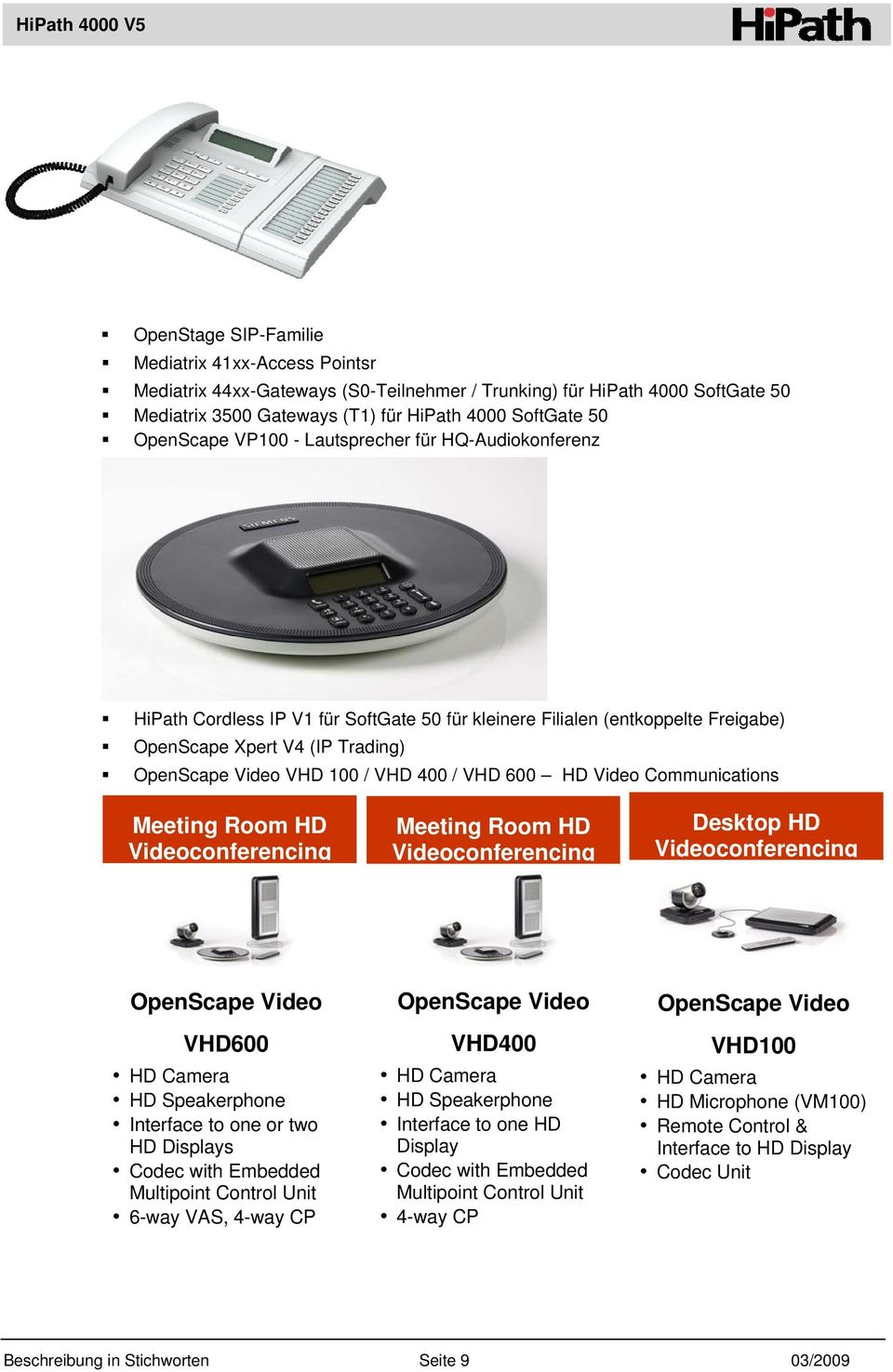 600 HD Video Communications Meeting Room HD Videoconferencing Meeting Room HD Videoconferencing Desktop HD Videoconferencing OpenScape Video VHD600 HD Camera HD Speakerphone Interface to one or two