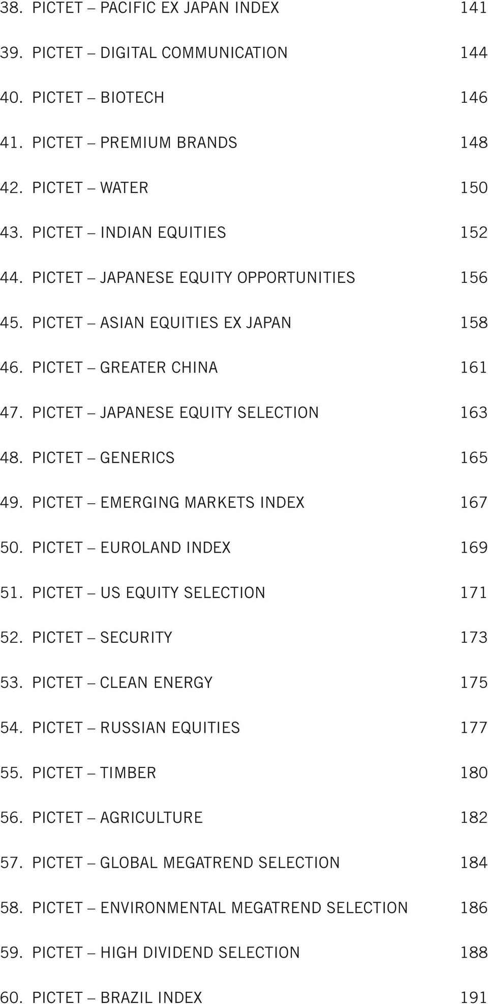 PICTET EMERGING MARKETS INDEX 167 50. PICTET EUROLAND INDEX 169 51. PICTET US EQUITY SELECTION 171 52. PICTET SECURITY 173 53. PICTET CLEAN ENERGY 175 54. PICTET RUSSIAN EQUITIES 177 55.