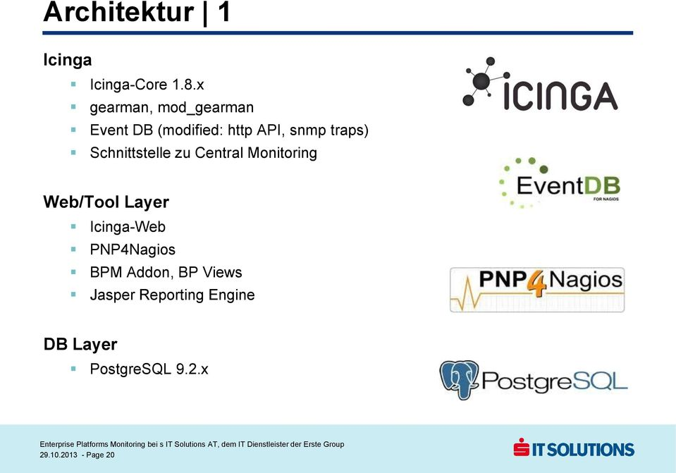 Schnittstelle zu Central Monitoring Web/Tool Layer Icinga-Web