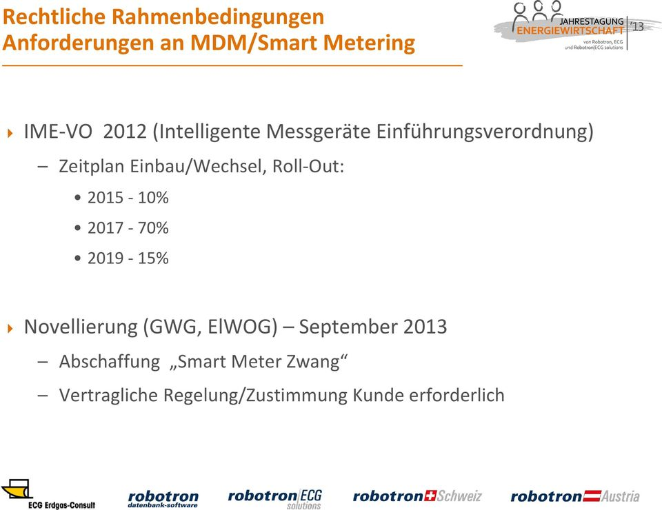 Roll-Out: 2015-10% 2017-70% 2019-15% Novellierung (GWG, ElWOG) September 2013