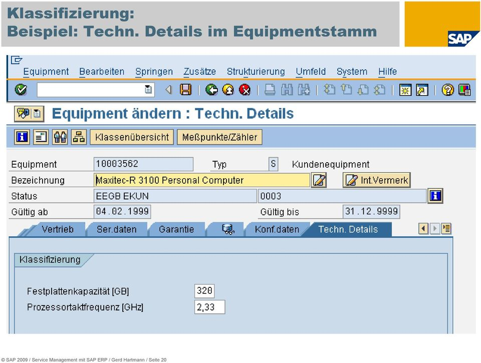Details im Equipmentstamm SAP