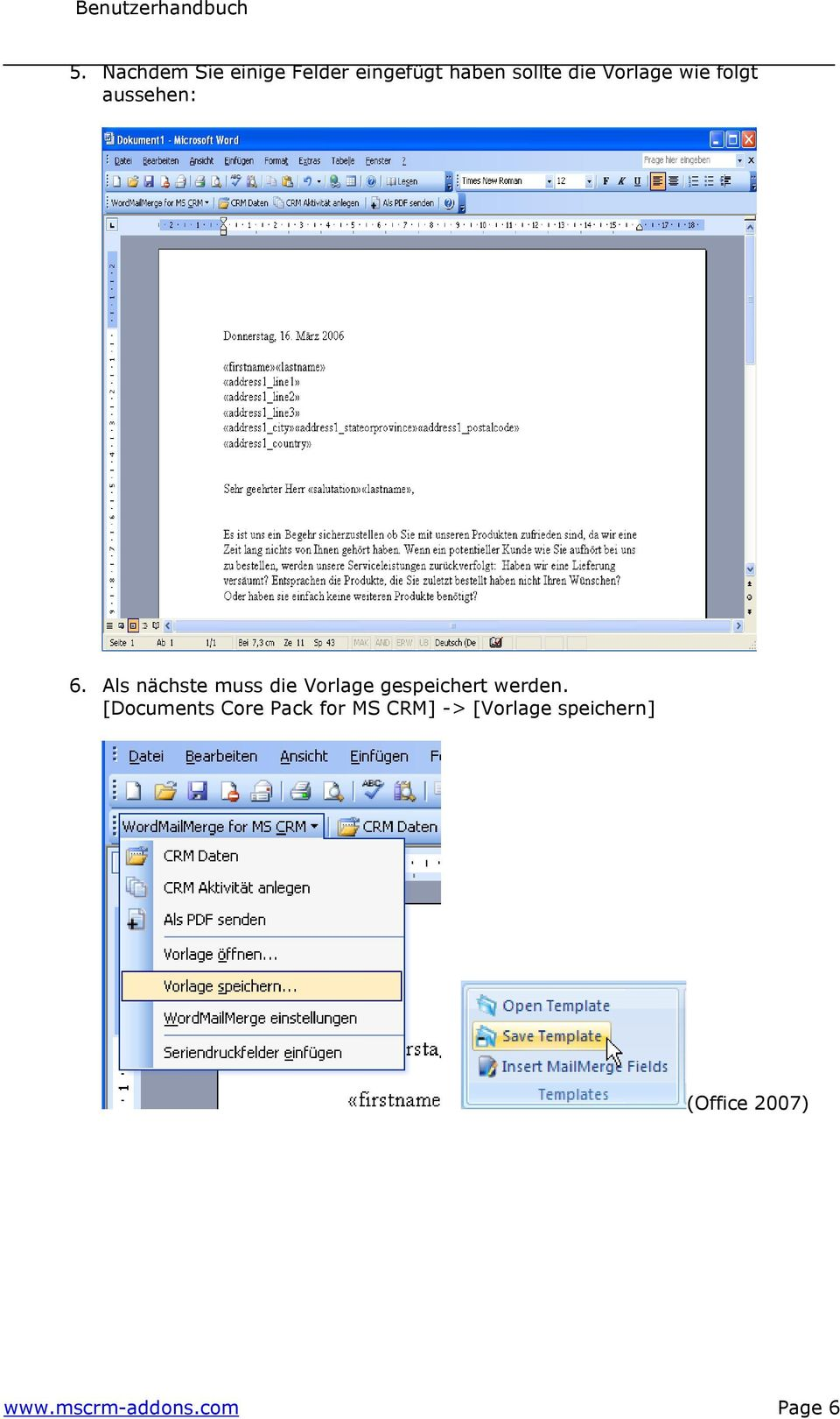 Documents Core Pack für MS CRM 4 Version PDF