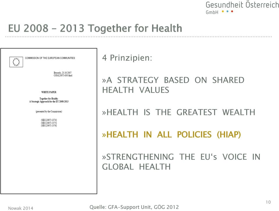 HEALTH IN ALL POLICIES (HIAP)» STRENGTHENING THE EU s VOICE