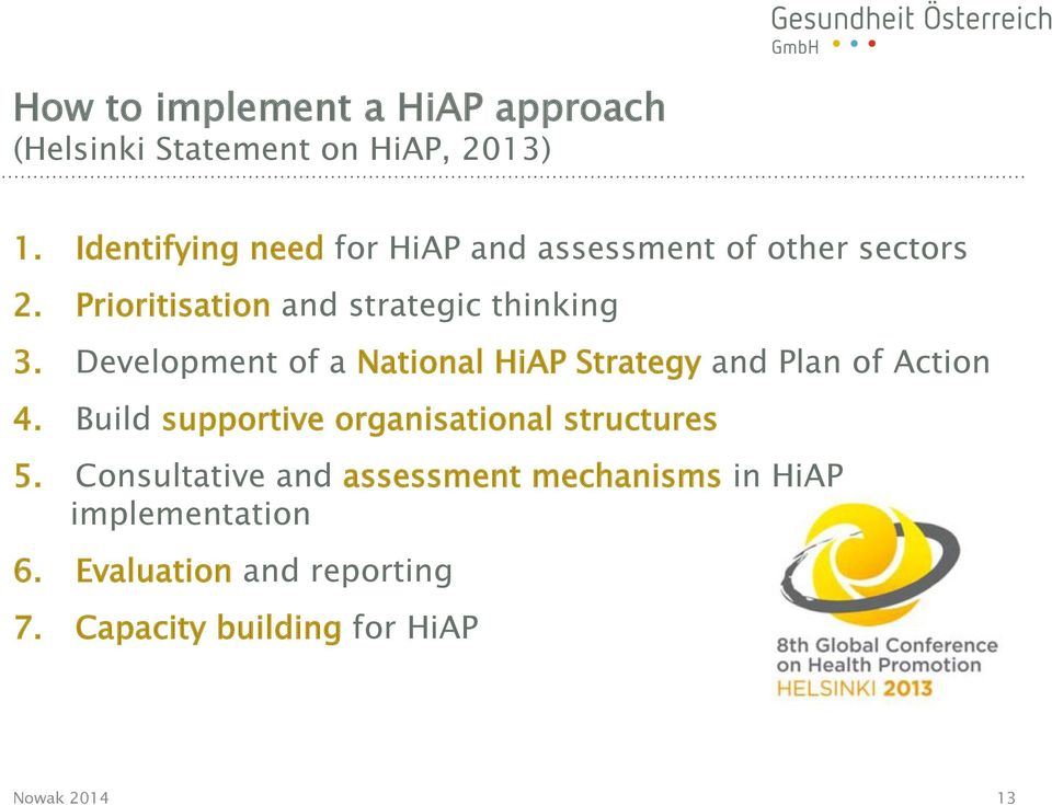 Development of a National HiAP Strategy and Plan of Action 4.