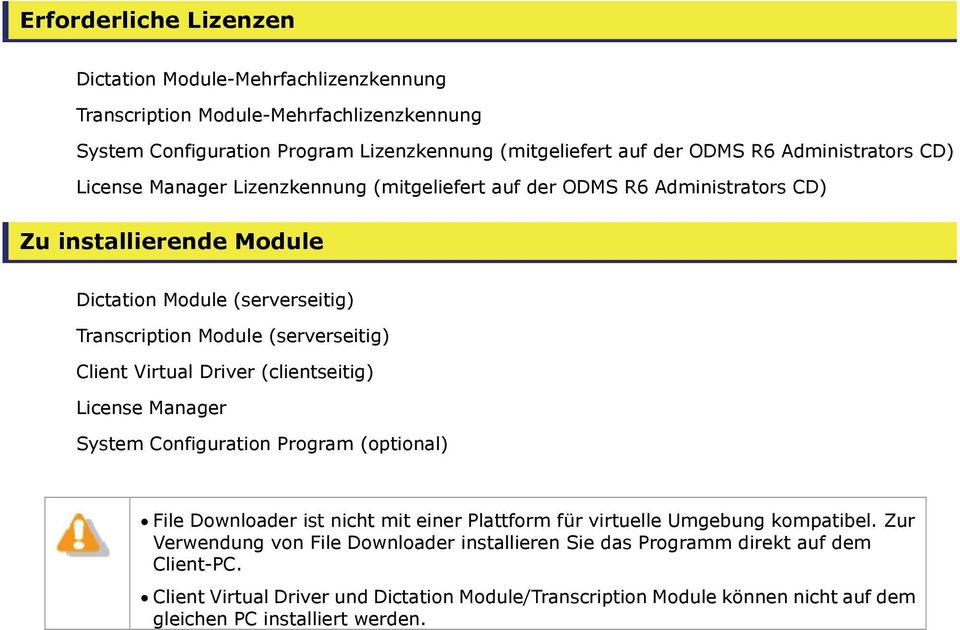 (serverseitig) Client Virtual Driver (clientseitig) License Manager System Configuration Program (optional) File Downloader ist nicht mit einer Plattform für virtuelle Umgebung kompatibel.