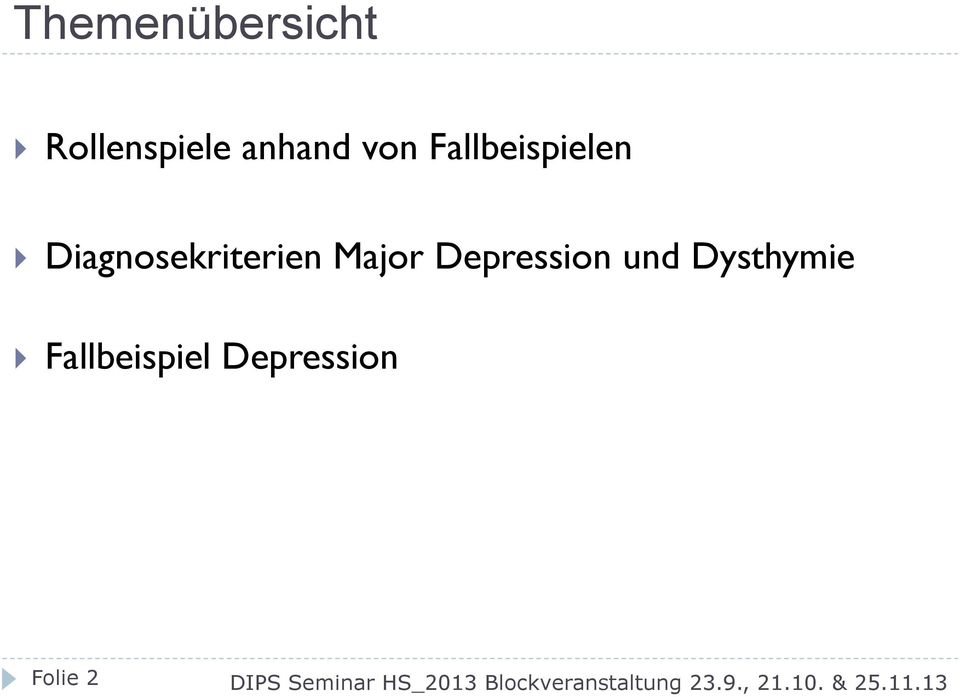 Diagnosekriterien Major Depression