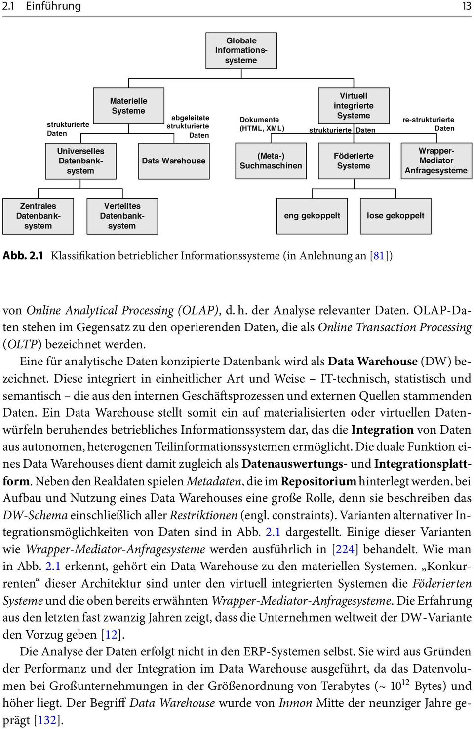 lose gekoppelt Abb. 2.1 Klassifikation betrieblicher Informationssysteme (in Anlehnung an [81]) von Online Analytical Processing (OLAP), d. h. der Analyse relevanter Daten.