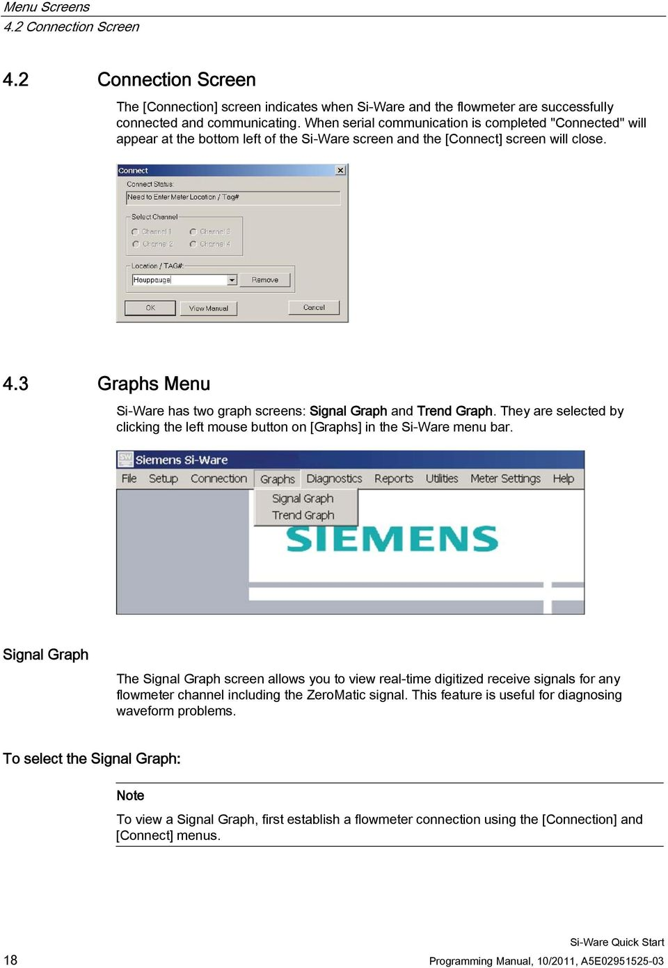 3 Graphs Menu Si-Ware has two graph screens: Signal Graph and Trend Graph. They are selected by clicking the left mouse button on [Graphs] in the Si-Ware menu bar.