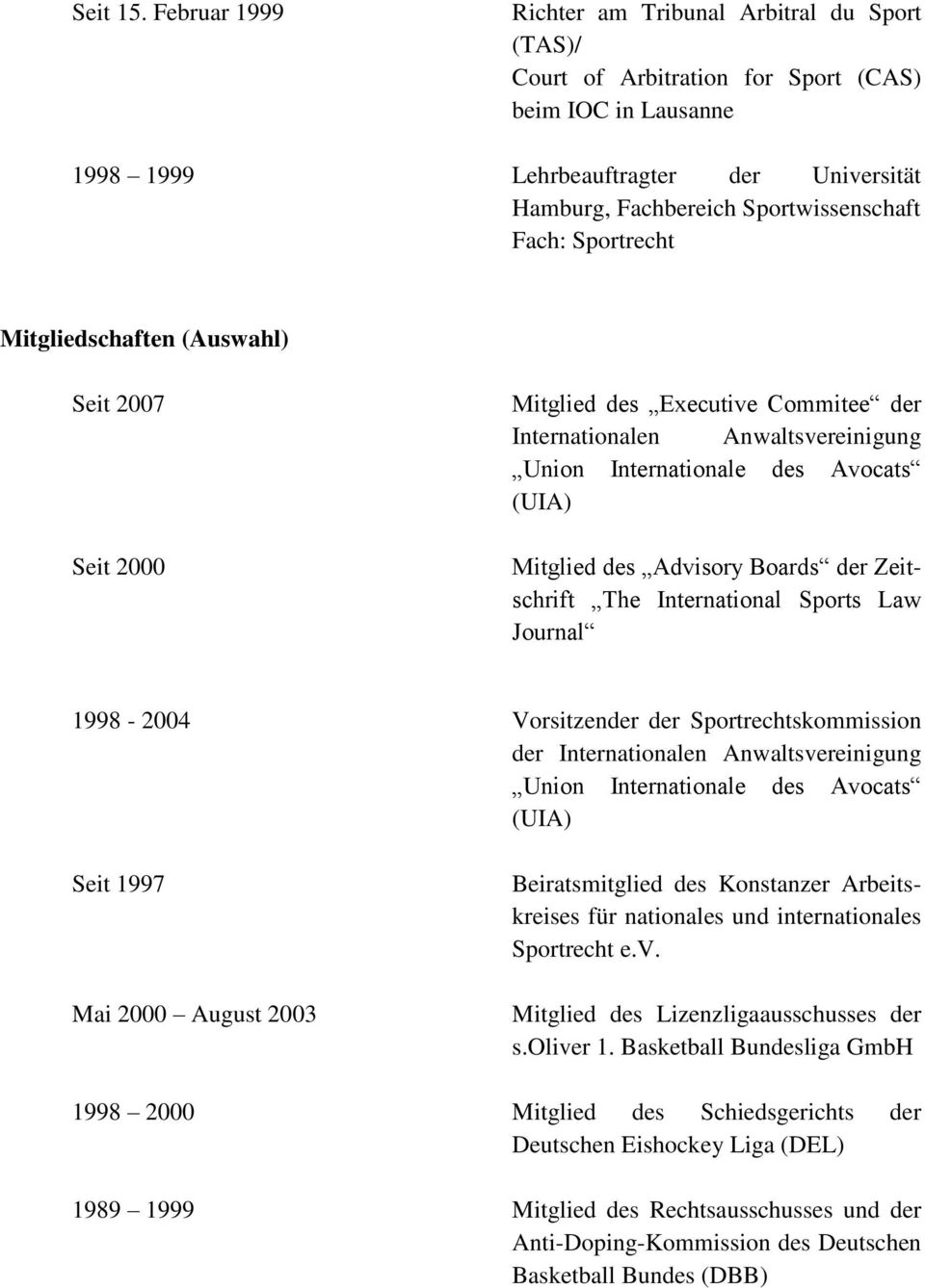 Fach: Sportrecht Mitgliedschaften (Auswahl) Seit 2007 Seit 2000 Mitglied des Executive Commitee der Internationalen Anwaltsvereinigung Union Internationale des Avocats (UIA) Mitglied des Advisory