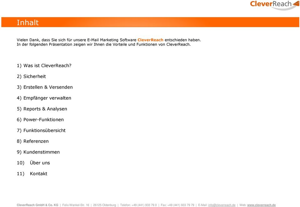 1) Was ist CleverReach?