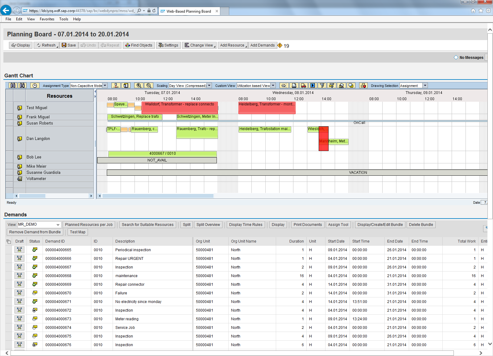 Scheduler Workplace User Interface Example: