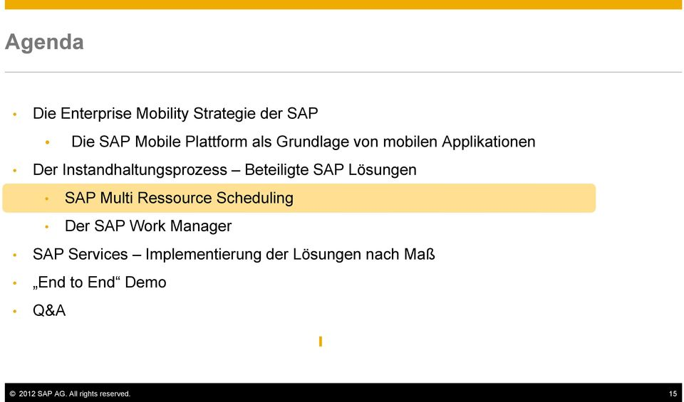 Lösungen SAP Multi Ressource Scheduling Der SAP Work Manager SAP Services