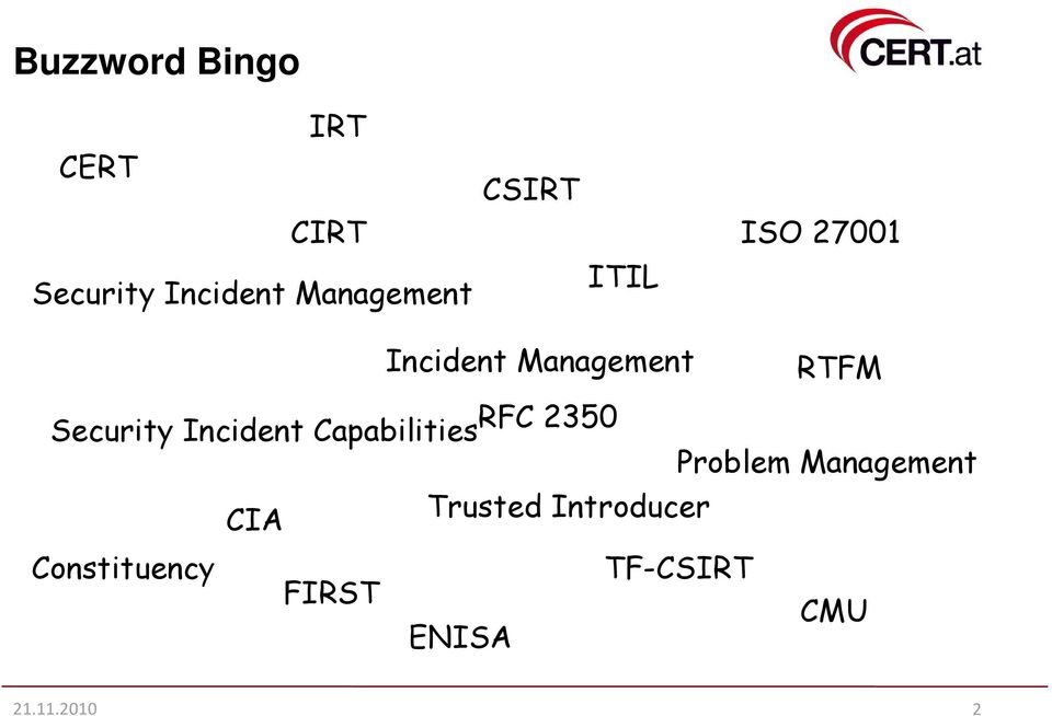 Incident Capabilities RFC 2350 Problem Management CIA