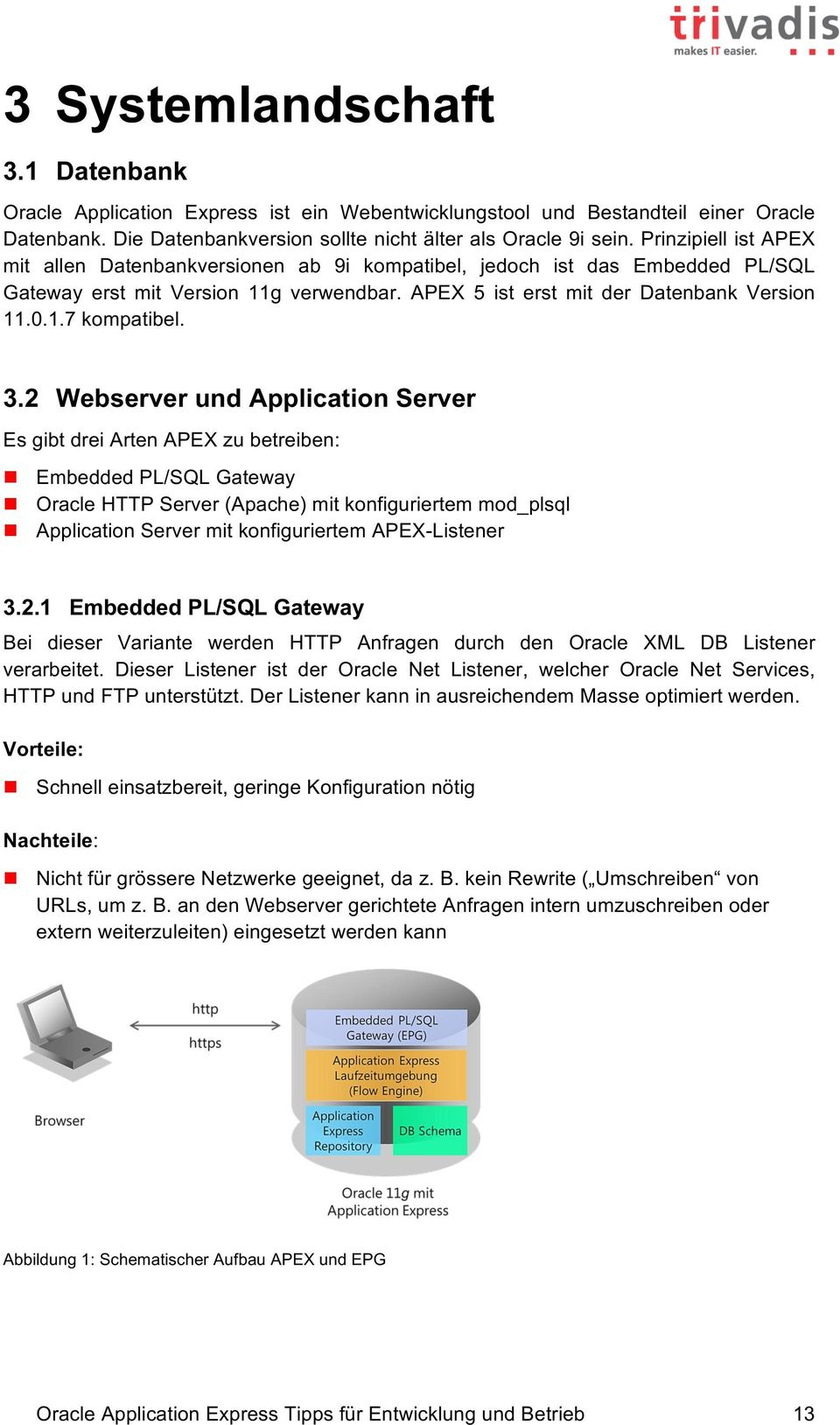3.2 Webserver und Application Server Es gibt drei Arten APEX zu betreiben: n Embedded PL/SQL Gateway n Oracle HTTP Server (Apache) mit konfiguriertem mod_plsql n Application Server mit konfiguriertem