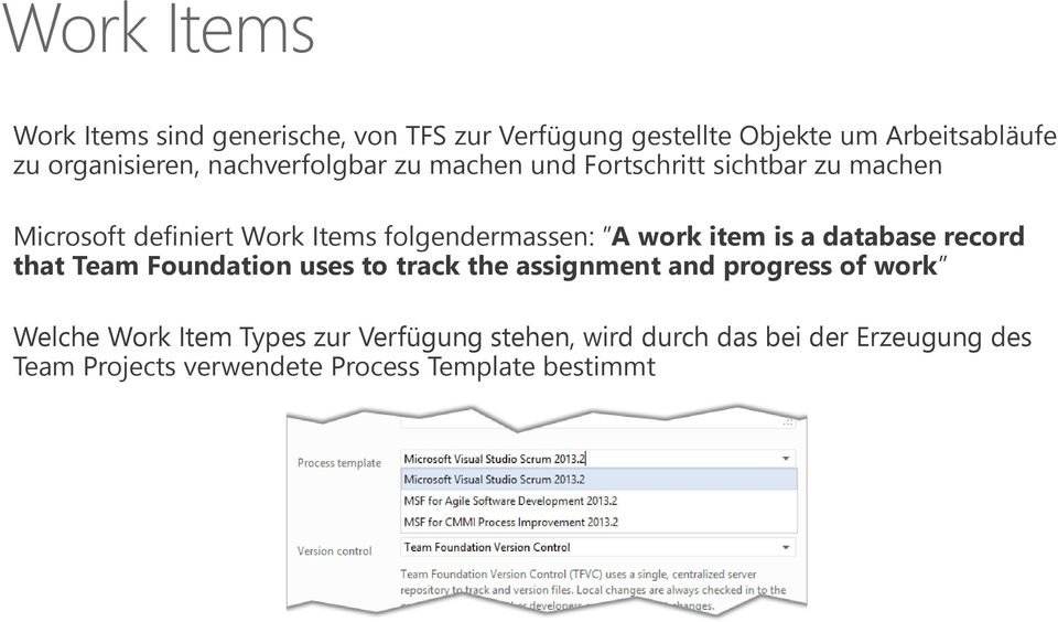work item is a database record that Team Foundation uses to track the assignment and progress of workˮ Welche Work