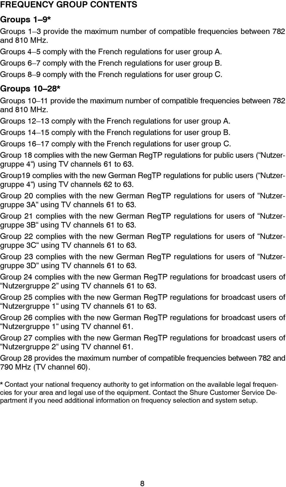 Groups 10 28* Groups 10 11 provide the maximum number of compatible frequencies between 782 and 810 MHz. Groups 12 13 comply with the French regulations for user group A.