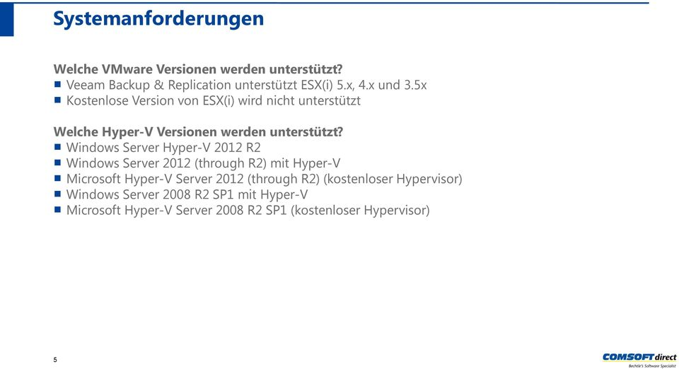 Windows Server Hyper-V 2012 R2 Windows Server 2012 (through R2) mit Hyper-V Microsoft Hyper-V Server 2012 (through