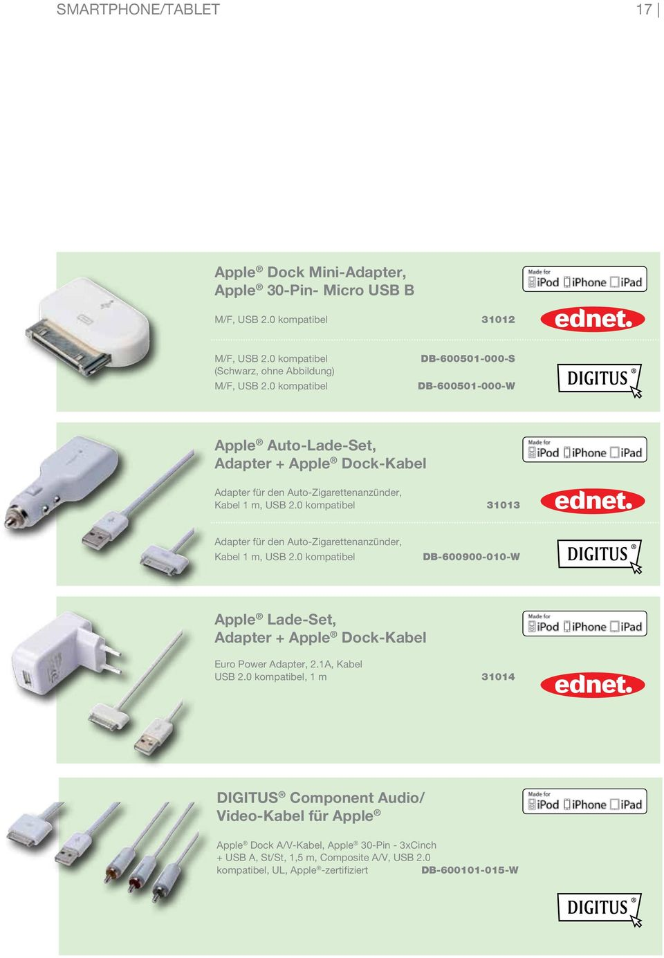 0 kompatibel 31013 Adapter für den Auto-Zigarettenanzünder, Kabel 1 m, USB 2.0 kompatibel DB-600900-010-W Apple Lade-Set, Adapter + Apple Dock-Kabel Euro Power Adapter, 2.