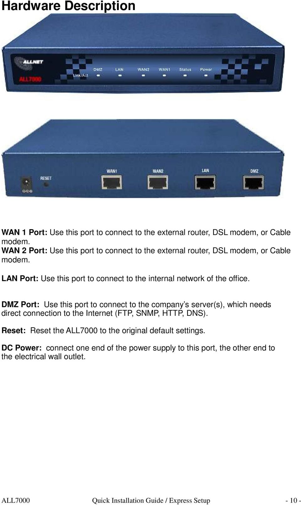 LAN Port: Use this port to connect to the internal network of the office.