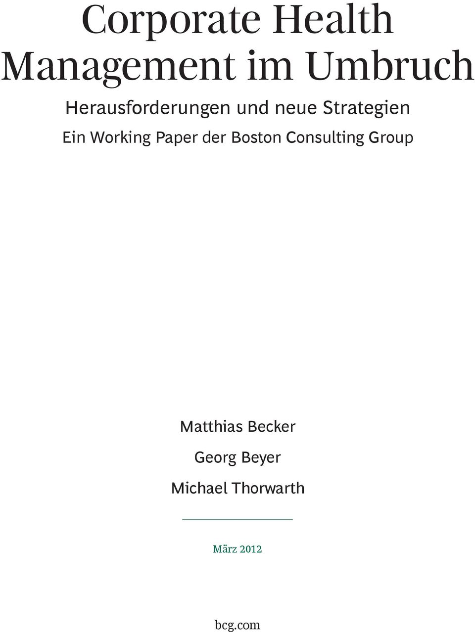 Working Paper der Boston Consulting Group