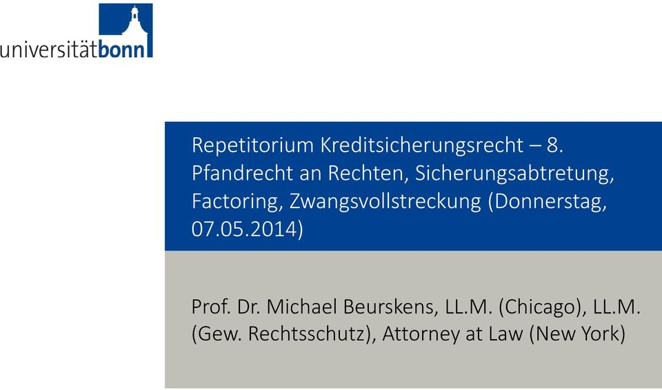 2014) Prof. Dr. Michael Beurskens, LL.M. (Chicago), LL.