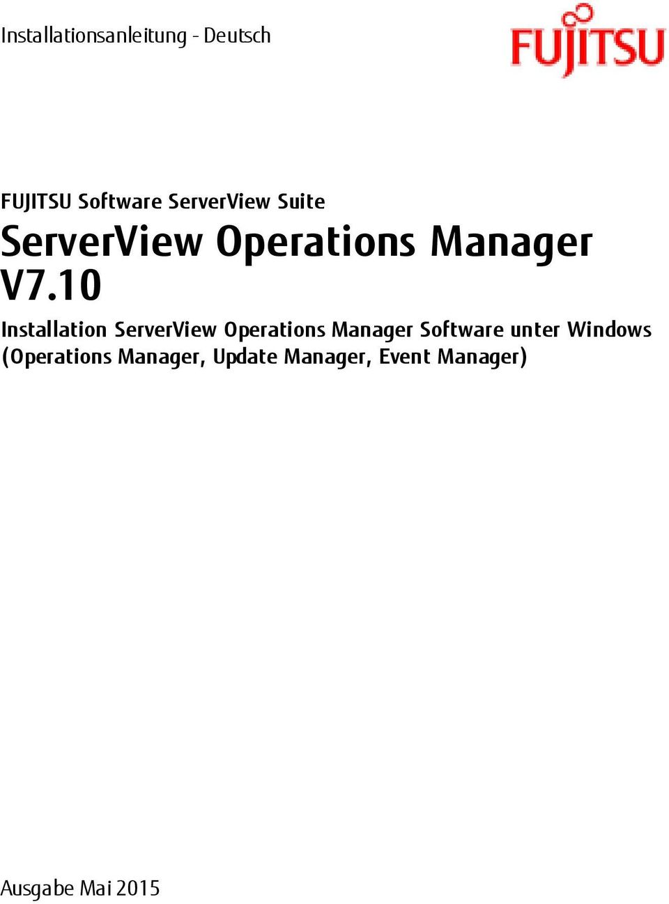 10 Installation ServerView Operations Manager Software