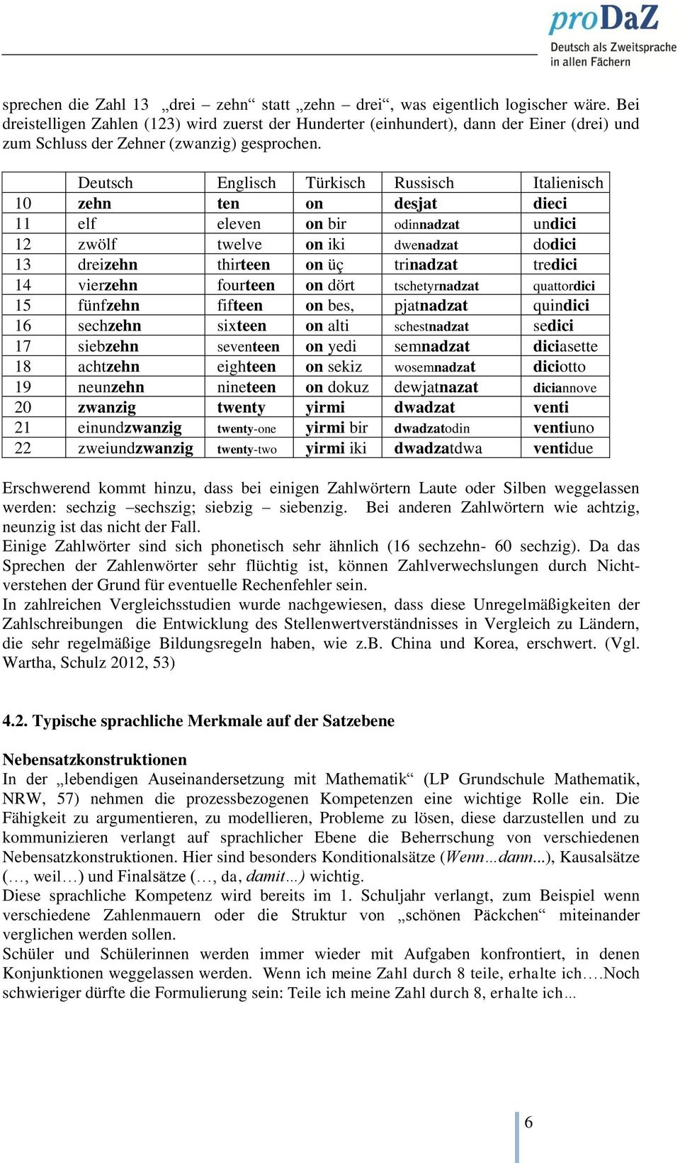 Deutsch Englisch Türkisch Russisch Italienisch 10 zehn ten on desjat dieci 11 elf eleven on bir odinnadzat undici 12 zwölf twelve on iki dwenadzat dodici 13 dreizehn thirteen on üç trinadzat tredici