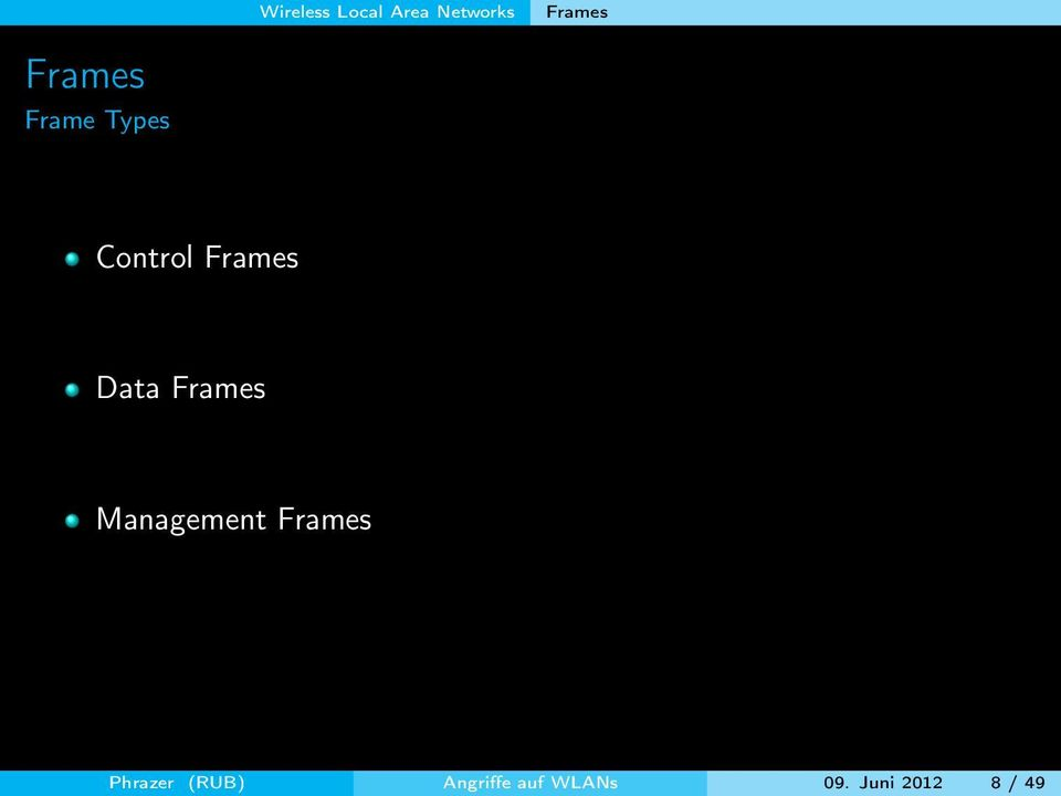 Data Frames Management Frames