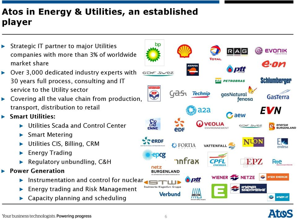production, transport, distribution to retail Smart Utilities: Utilities Scada and Control Center Smart Metering Utilities CIS, Billing, CRM Energy