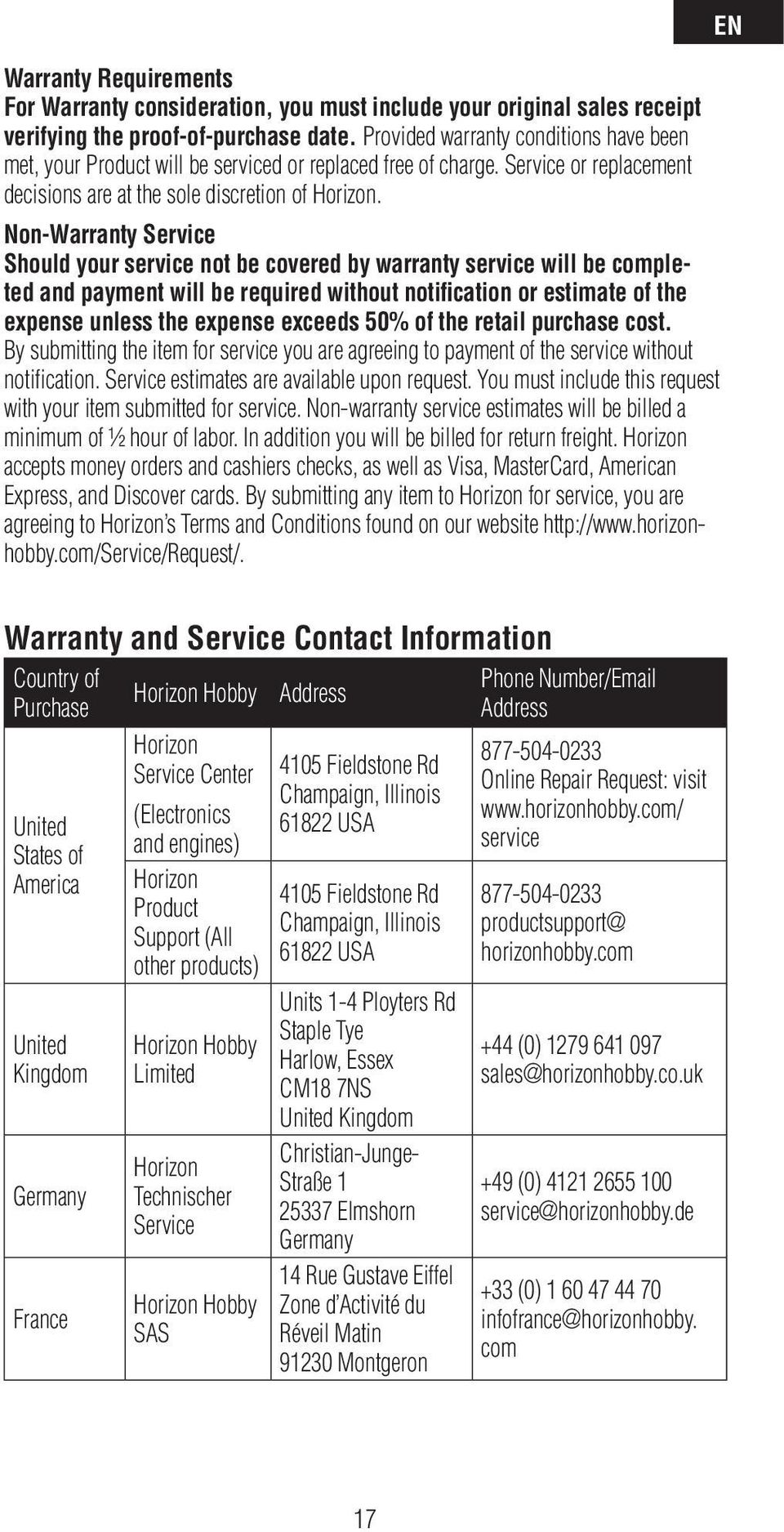 USA Warranty Requirements For Warranty consideration, you must include your original sales receipt verifying the proof-of-purchase date.