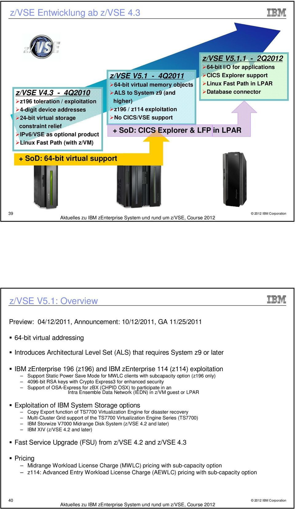 1: Overview Preview: 04/12/2011, Announcement: 10/12/2011, GA 11/25/2011 64-bit virtual addressing Introduces Architectural Level Set (ALS) that requires System z9 or later IBM zenterprise 196 (z196)