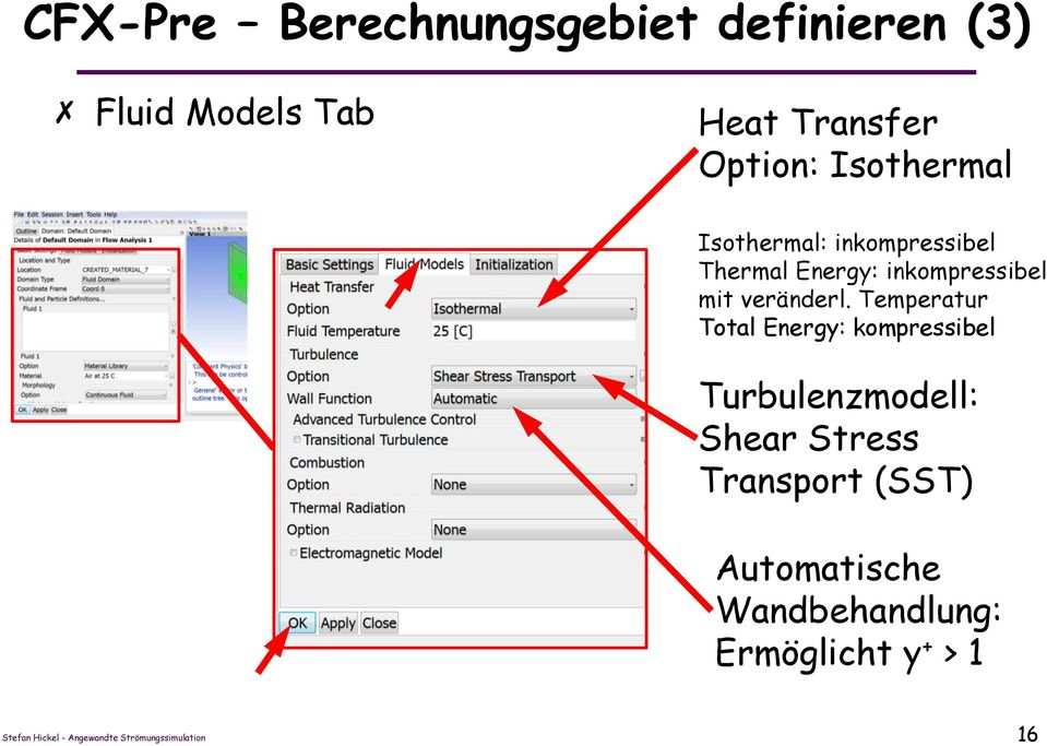 Temperatur Total Energy: kompressibel Turbulenzmodell: Shear Stress Transport (SST)
