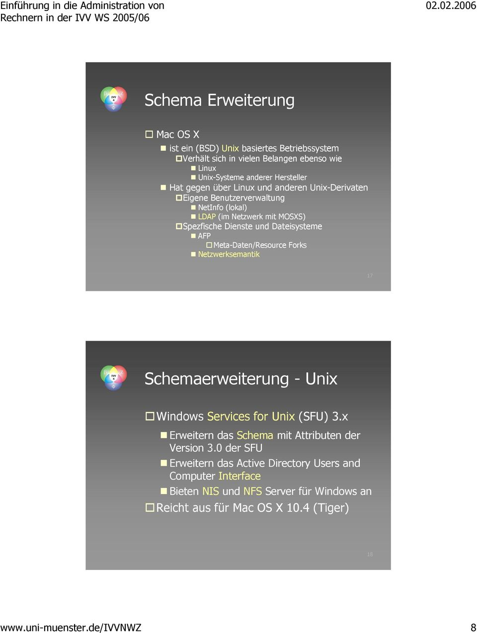 Meta-Daten/Resource Forks Netzwerksemantik 17 Schemaerweiterung - Unix Windows Services for Unix (SFU) 3.x Erweitern das Schema mit Attributen der Version 3.