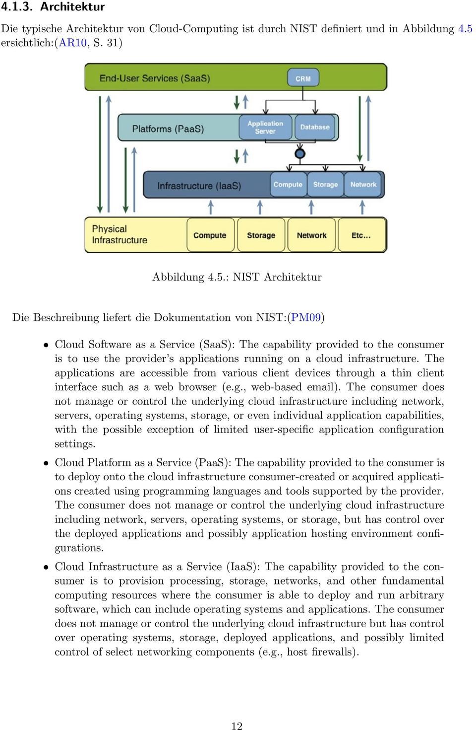 : NIST Architektur Die Beschreibung liefert die Dokumentation von NIST:(PM09) Cloud Software as a Service (SaaS): The capability provided to the consumer is to use the provider s applications running