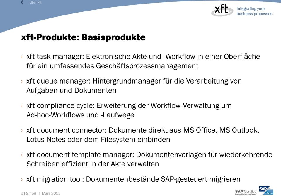 Workflow-Verwaltung um Ad-hoc-Workflows und -Laufwege xft document connector: Dokumente direkt aus MS Office, MS Outlook, Lotus Notes oder dem Filesystem