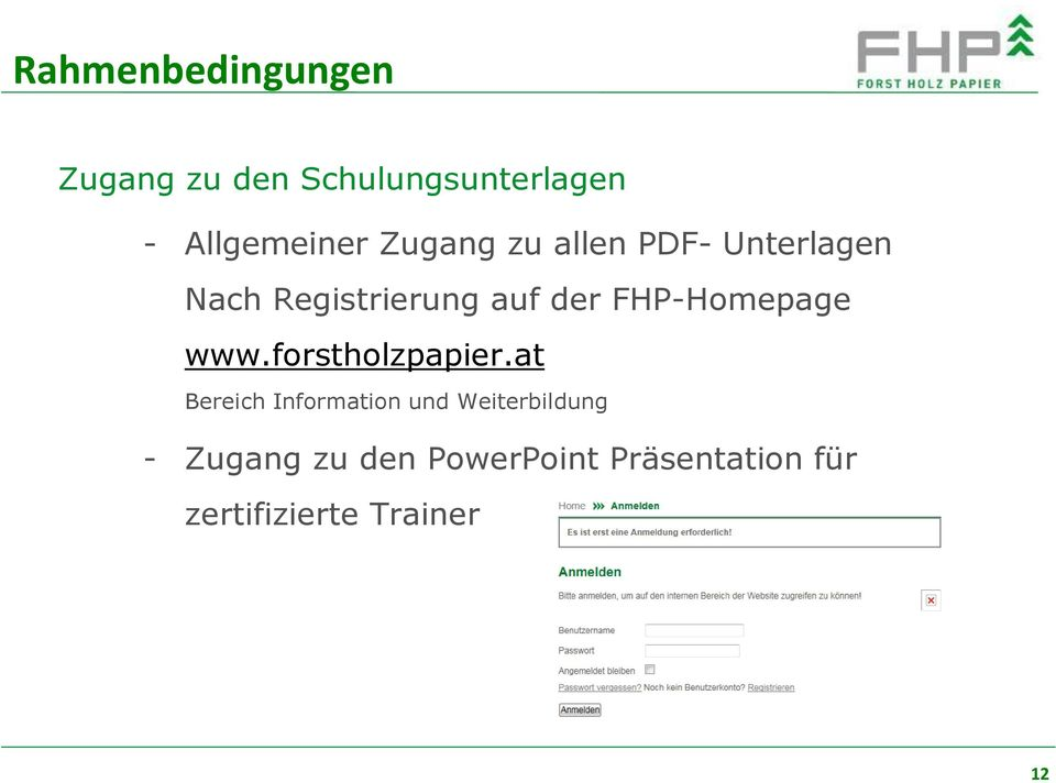 der FHP-Homepage www.forstholzpapier.