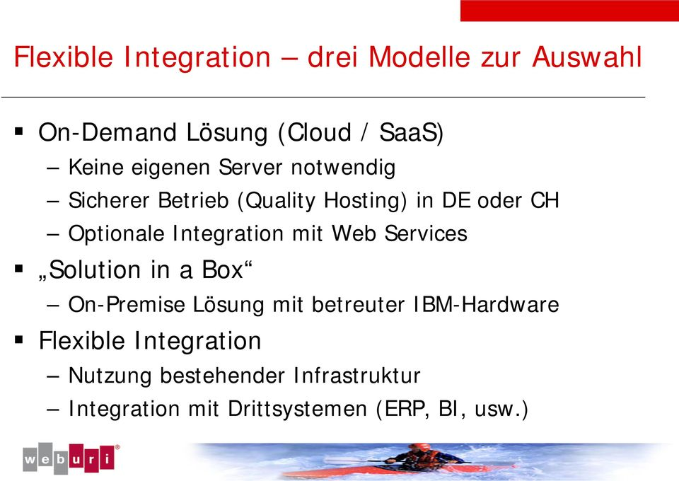 Integration mit Web Services Solution in a Box On-Premise Lösung mit betreuter