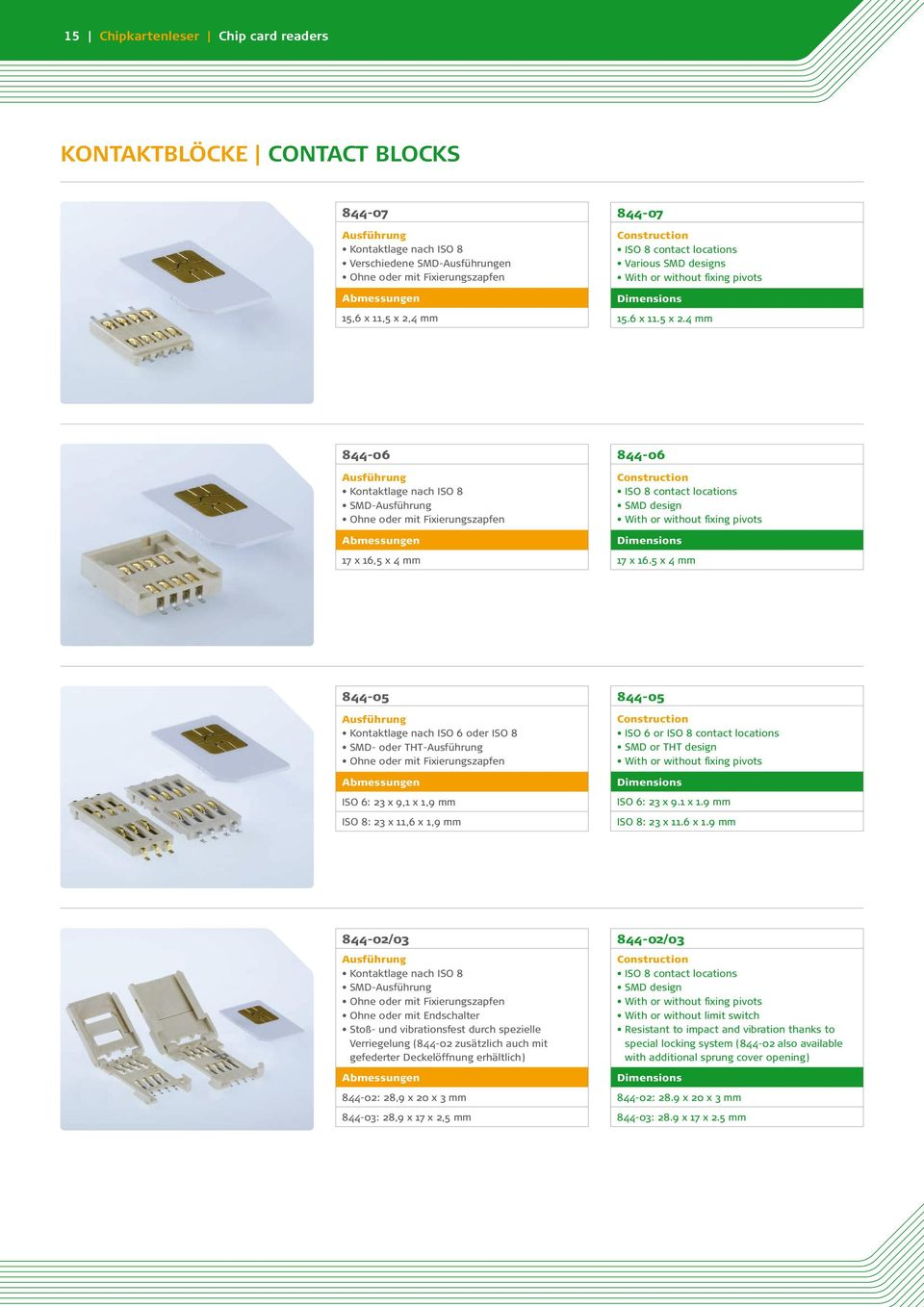 9 mm 844-05 ISO 6 or ISO 8 contact locations SMD or THT design ISO 6: 23 x 9.1 x 1.9 mm ISO 8: 23 x 11.6 x 1.