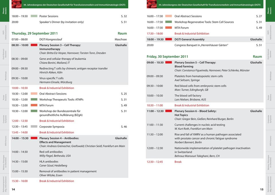 51 16:00 17:30 Workshop Regenerative Tools: Stem Cell Sources S. 31 Thursday, 29 September 2011 Raum 07:00 08:00 Kongresslauf Maschsee 16:00 17:30 MTA Forum S.