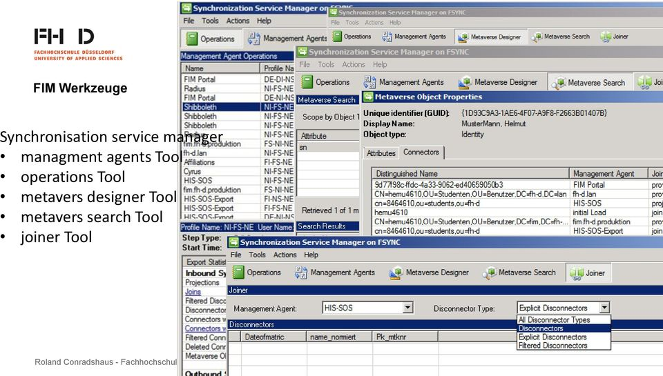 Synchronisation service manager managment agents Tool