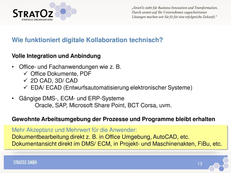 SAP, Microsoft Share Point, BCT Corsa, uvm.