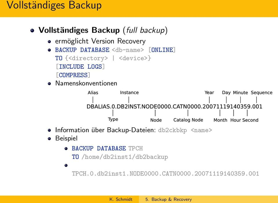 Namenskonventionen Information über Backup-Dateien: db2ckbkp <name> Beispiel BACKUP